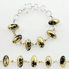 60.82cts natural golden pyrite in magnetite 925 silver tennis bracelet r27452