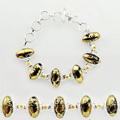 60.59cts natural golden pyrite in magnetite 925 silver tennis bracelet r27455