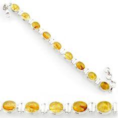36.59cts natural golden tourmaline rutile 925 silver tennis bracelet d44377