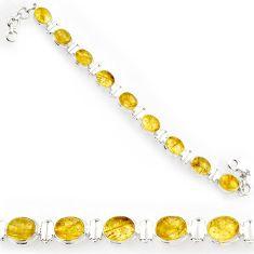 golden tourmaline rutile 925 silver tennis bracelet d44388