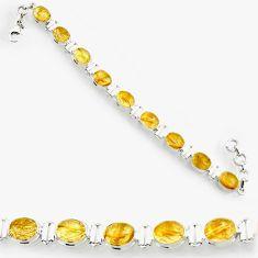 golden tourmaline rutile 925 silver tennis bracelet d44389