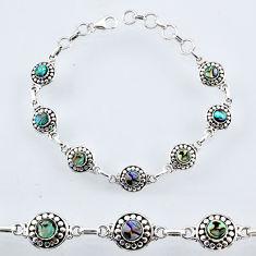 5.45cts natural green abalone paua seashell 925 silver tennis bracelet r54939