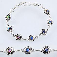 5.33cts natural green abalone paua seashell 925 silver tennis bracelet r54940