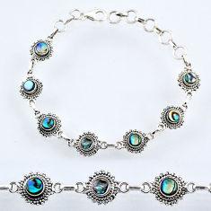 4.84cts natural green abalone paua seashell 925 silver tennis bracelet r54957