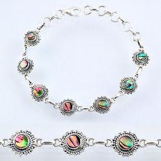 4.84cts natural green abalone paua seashell 925 silver tennis bracelet r54958