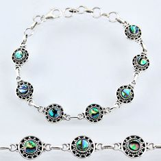 4.96cts natural green abalone paua seashell 925 silver tennis bracelet r54980