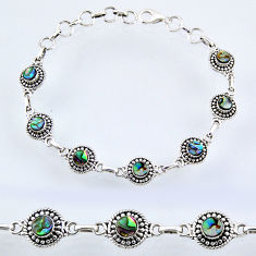 5.12cts natural green abalone paua seashell 925 silver tennis bracelet r54997