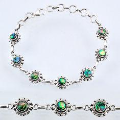 4.84cts natural green abalone paua seashell 925 silver tennis bracelet r54999