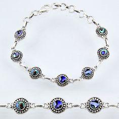 4.93cts natural green abalone paua seashell 925 silver tennis bracelet r55000
