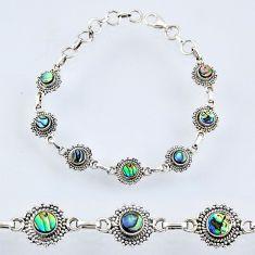 6.92cts natural green abalone paua seashell 925 silver tennis bracelet r55018