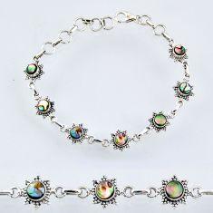 5.62cts natural green abalone paua seashell 925 silver tennis bracelet r55019