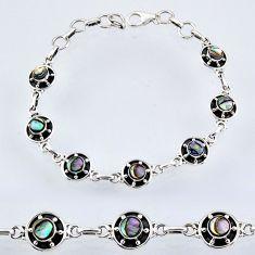 4.96cts natural green abalone paua seashell 925 silver tennis bracelet r55034