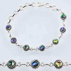 4.73cts natural green abalone paua seashell 925 silver tennis bracelet r55055