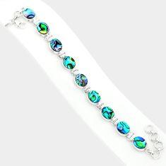 30.89cts natural green abalone paua seashell 925 silver tennis bracelet r84238