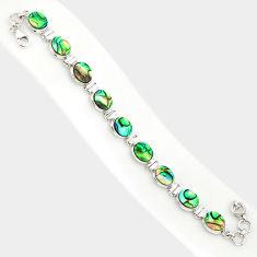 29.66cts natural green abalone paua seashell 925 silver tennis bracelet r84257
