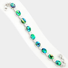 29.65cts natural green abalone paua seashell 925 silver tennis bracelet r84258