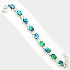 28.85cts natural green abalone paua seashell 925 silver tennis bracelet r84259