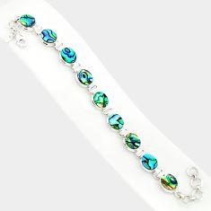 29.27cts natural green abalone paua seashell 925 silver tennis bracelet r84261