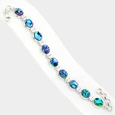 29.29cts natural green abalone paua seashell 925 silver tennis bracelet r84262