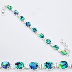 27.04cts natural green abalone paua seashell 925 silver tennis bracelet r96630