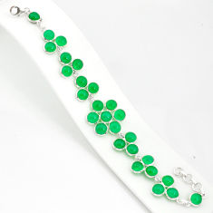 40.79cts natural green chalcedony 925 sterling silver tennis bracelet r84877