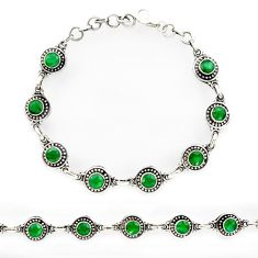 8.02cts natural green emerald 925 sterling silver tennis bracelet r27591