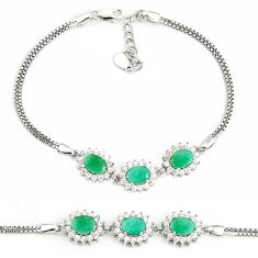 8.68cts natural green emerald topaz 925 sterling silver bracelet jewelry c19813