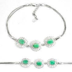 11.73cts natural green emerald topaz 925 sterling silver tennis bracelet c19815