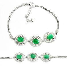 10.84cts natural green emerald topaz 925 sterling silver tennis bracelet c25955