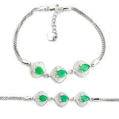 6.56cts natural green emerald topaz 925 sterling silver tennis bracelet c25956