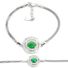 5.97cts natural green emerald topaz 925 sterling silver tennis bracelet c25958