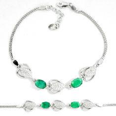 7.23cts natural green emerald white topaz 925 sterling silver bracelet c19816