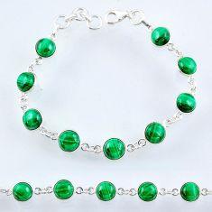 27.64cts natural green malachite (pilot's stone) silver tennis bracelet r55102
