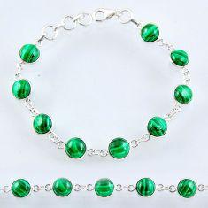 27.13cts natural green malachite (pilot's stone) silver tennis bracelet r55104