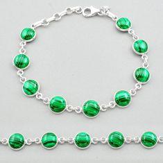24.67cts natural green malachite (pilot's stone) silver tennis bracelet t26428