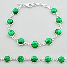 24.65cts natural green malachite (pilot's stone) silver tennis bracelet t26434