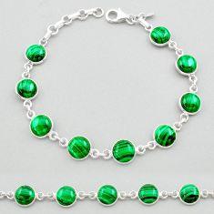 24.57cts natural green malachite (pilot's stone) silver tennis bracelet t26435