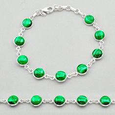 23.98cts natural green malachite (pilot's stone) silver tennis bracelet t26436