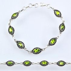 8.69cts natural green peridot 925 sterling silver tennis bracelet jewelry r54968