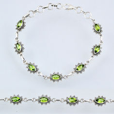 6.95cts natural green peridot 925 sterling silver tennis bracelet jewelry r55014