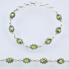 6.95cts natural green peridot 925 sterling silver tennis bracelet jewelry r55015