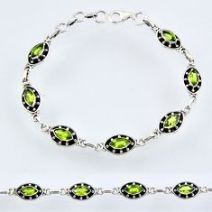 9.15cts natural green peridot 925 sterling silver tennis bracelet jewelry r55023