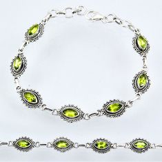 8.90cts natural green peridot 925 sterling silver tennis bracelet jewelry r55058