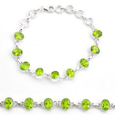 18.54cts natural green peridot 925 sterling silver tennis bracelet jewelry t4586