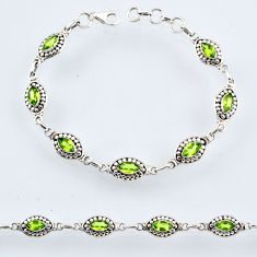 9.93cts natural green peridot 925 sterling silver tennis bracelet r54931