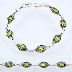 9.56cts natural green peridot 925 sterling silver tennis bracelet r54993
