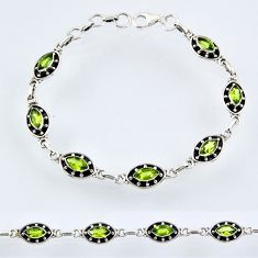 8.78cts natural green peridot 925 sterling silver tennis bracelet r55021