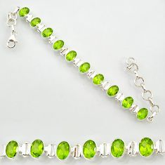 21.04cts natural green peridot 925 sterling silver tennis bracelet r87095