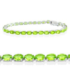 26.98cts natural green peridot 925 sterling silver tennis bracelet t12264