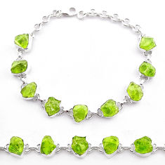 39.23cts natural green peridot raw 925 sterling silver tennis bracelet t48778
